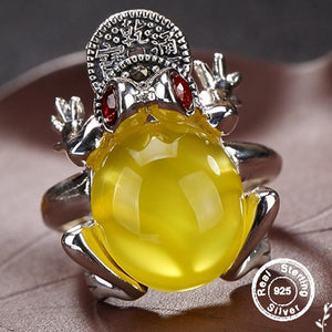 Amber S925 Sterling Silver Resizeable Ring - Good Luck Frog for Money and Wealth - atperry's healing crystals