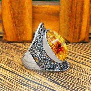 Vintage Oval Amber Ring - atperry's healing crystals