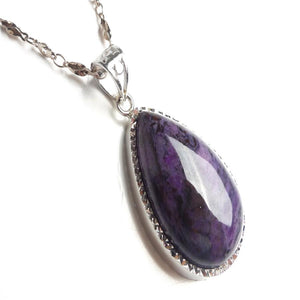Silver Plated Sugilite Stone Pendant - atperry's healing crystals