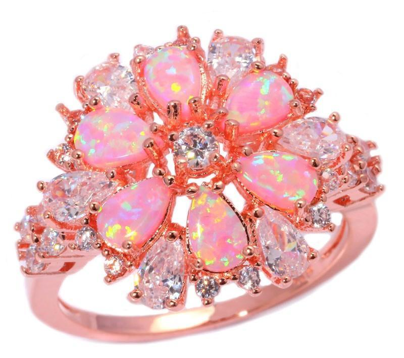 Pink Fire Opal Flower Ring - AtPerry's Healing Crystals™