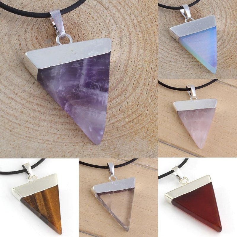 Triangular Natural Crystal Stone Pendant - atperry's healing crystals