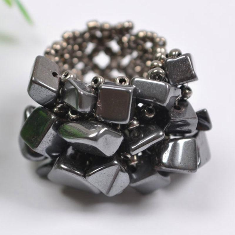 Elastic Black Hematite Bead Ring - atperry's healing crystals