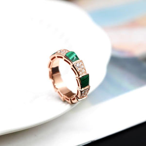 Snake Finger Malachite Zircon Ring - 925 Sterling Silver - atperry's healing crystals