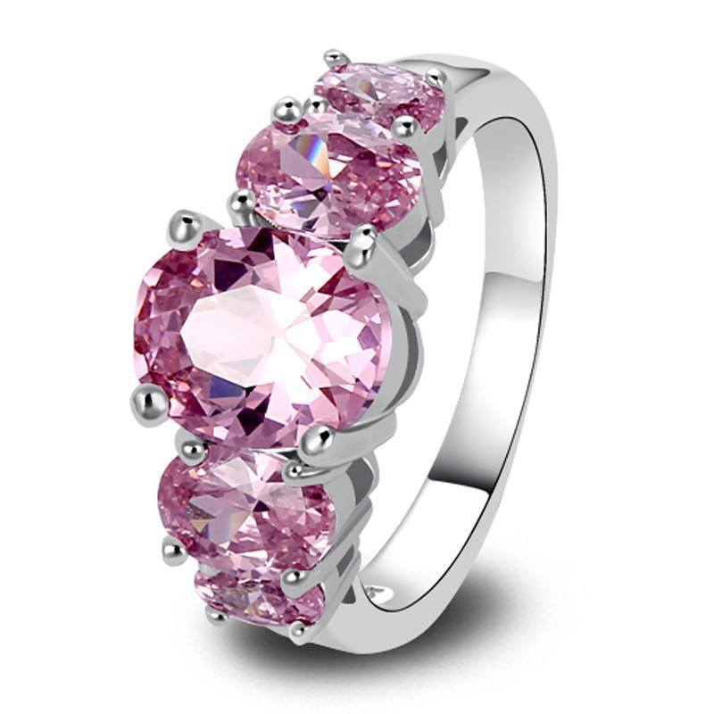 5 Stone Pink Sapphire Silver Ring   AtPerrys Healing Crystals   1