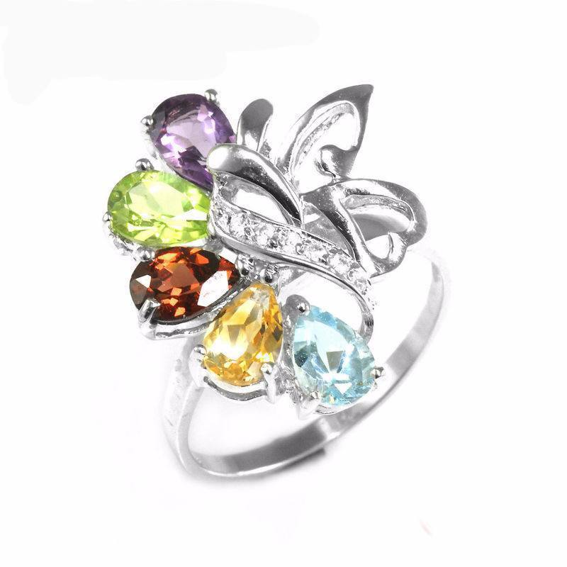 925 Sterling Silver Amethyst Citrine Garnet Peridot Sky Blue Topaz Cocktail Ring - atperry's healing crystals