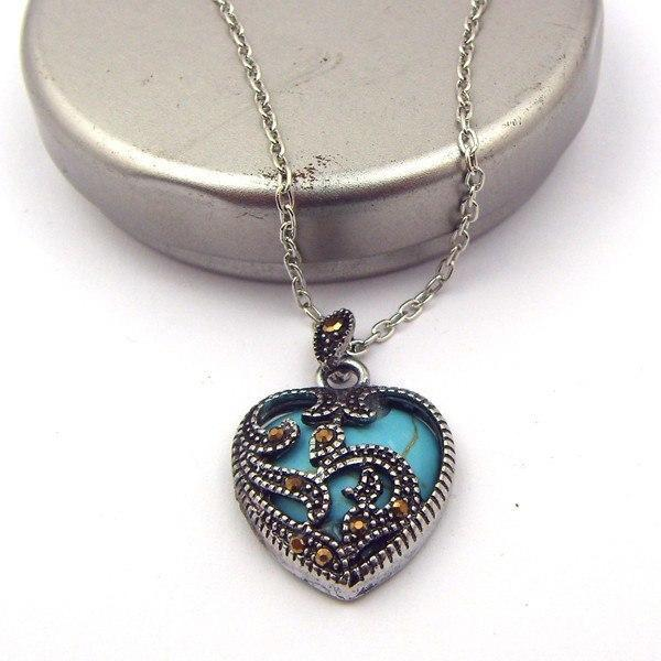 925 Sterling Silver Marcasite & Turquoise Heart Necklace - atperry's healing crystals