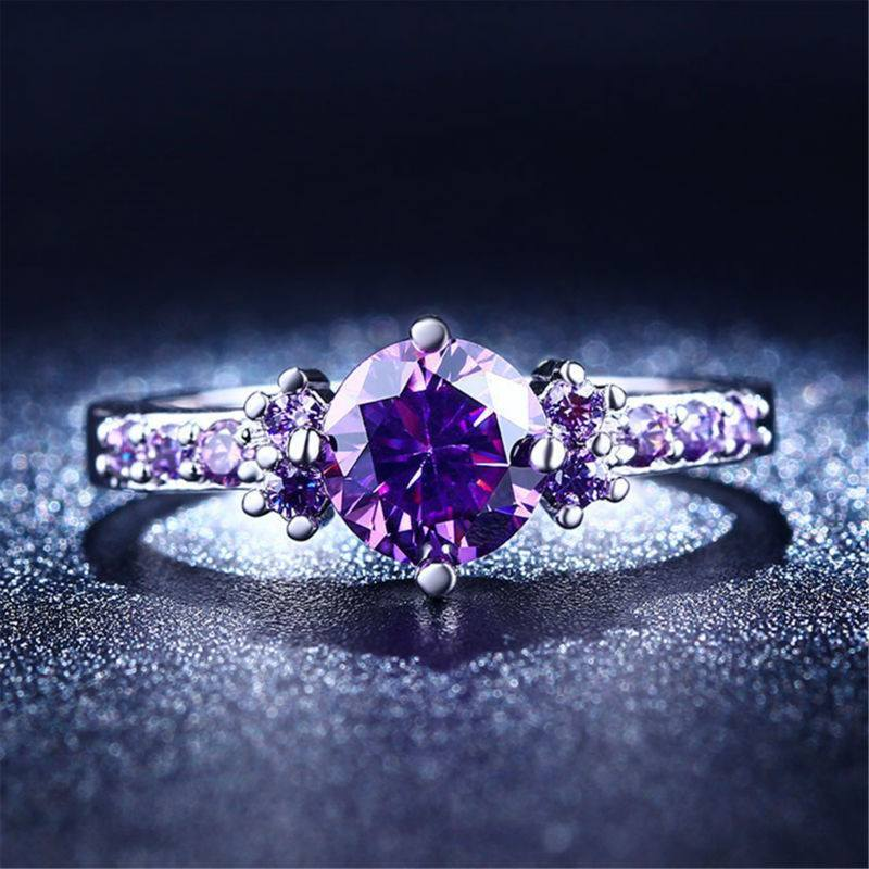 Amethyst Silver Plated Ring Diamond - AtPerrys Healing Crystals - 1