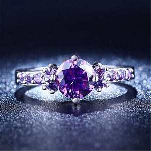Amethyst Silver Plated Ring Diamond   AtPerrys Healing Crystals   1