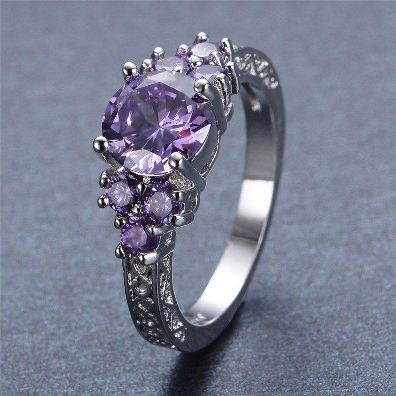 Amethyst Ring White Gold Filled   AtPerrys Healing Crystals   1