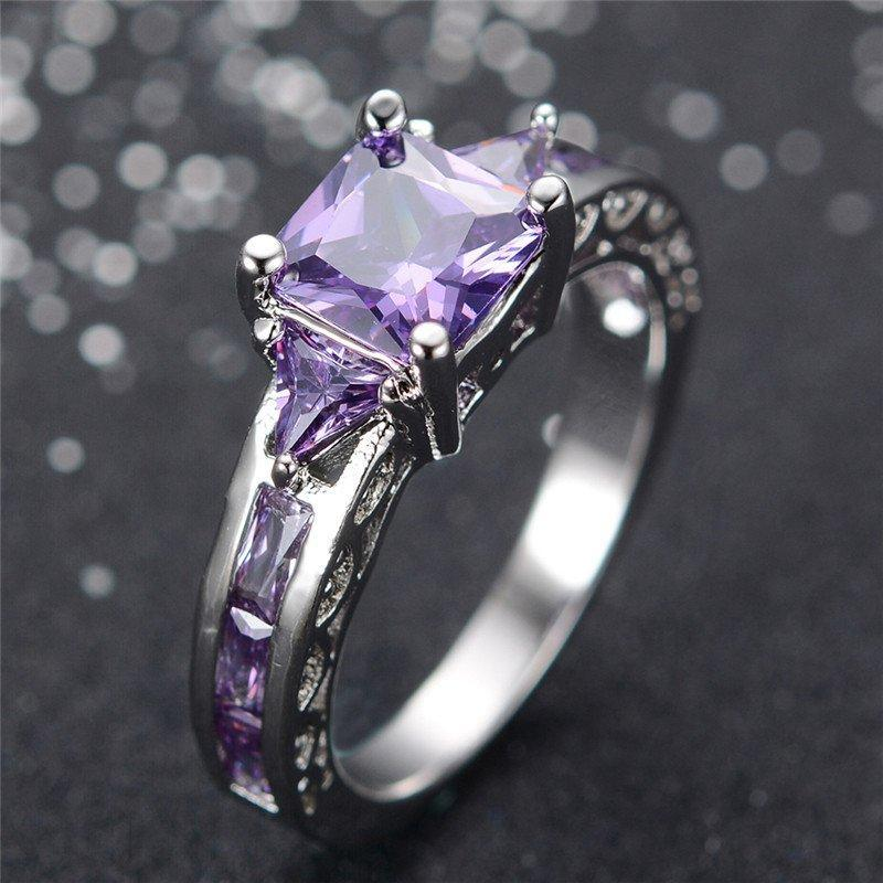 Amethyst White Gold Filled Ring - AtPerrys Healing Crystals - 1