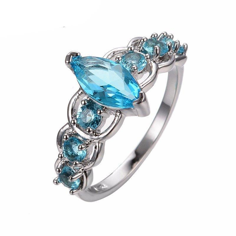 Aquamarine Stone White Gold Ring - AtPerrys Healing Crystals - 1