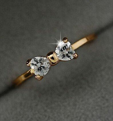 Austria Crystal CZ Diamond Gold Plated Finger Bow Ring   AtPerrys Healing Crystals   1