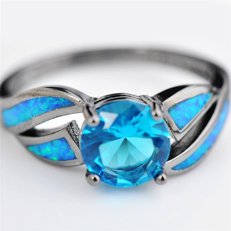 Blue Fire Aquamarine Opal Ring size 6 7 8 9 - atperry's healing crystals