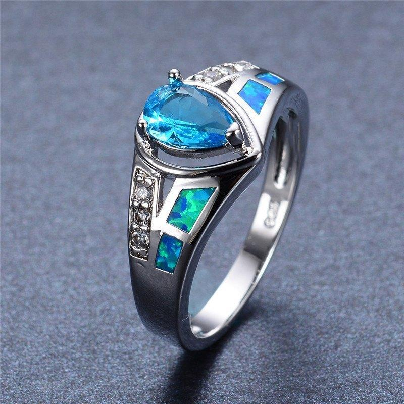 Blue Fire Opal Aquamarine Ring size 6 7 8 9 - atperry's healing crystals
