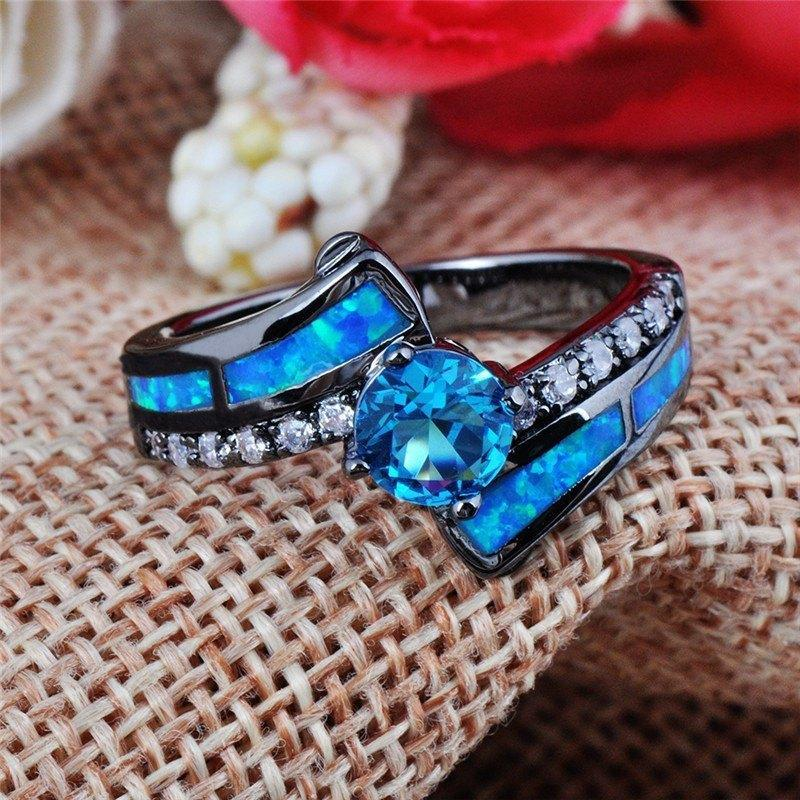 Blue Opal Aquamarine Ring - AtPerrys Healing Crystals - 1