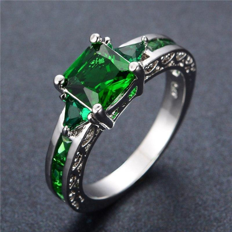 Emerald White Gold Plated Ring   AtPerrys Healing Crystals   1