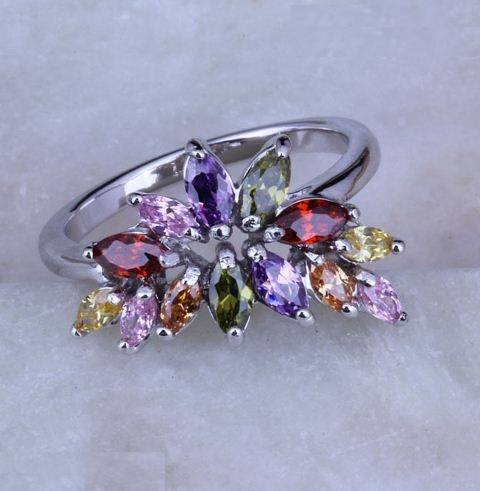 Exquisite Garnet Peridot Amethyst Morganite Combine Topaz Flower 925 Stamp Silver Ring