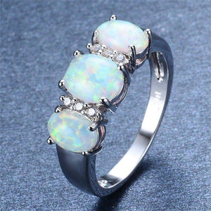 Fire Opal Ring White Gold Filled Crystal Ring   AtPerrys Healing Crystals   1