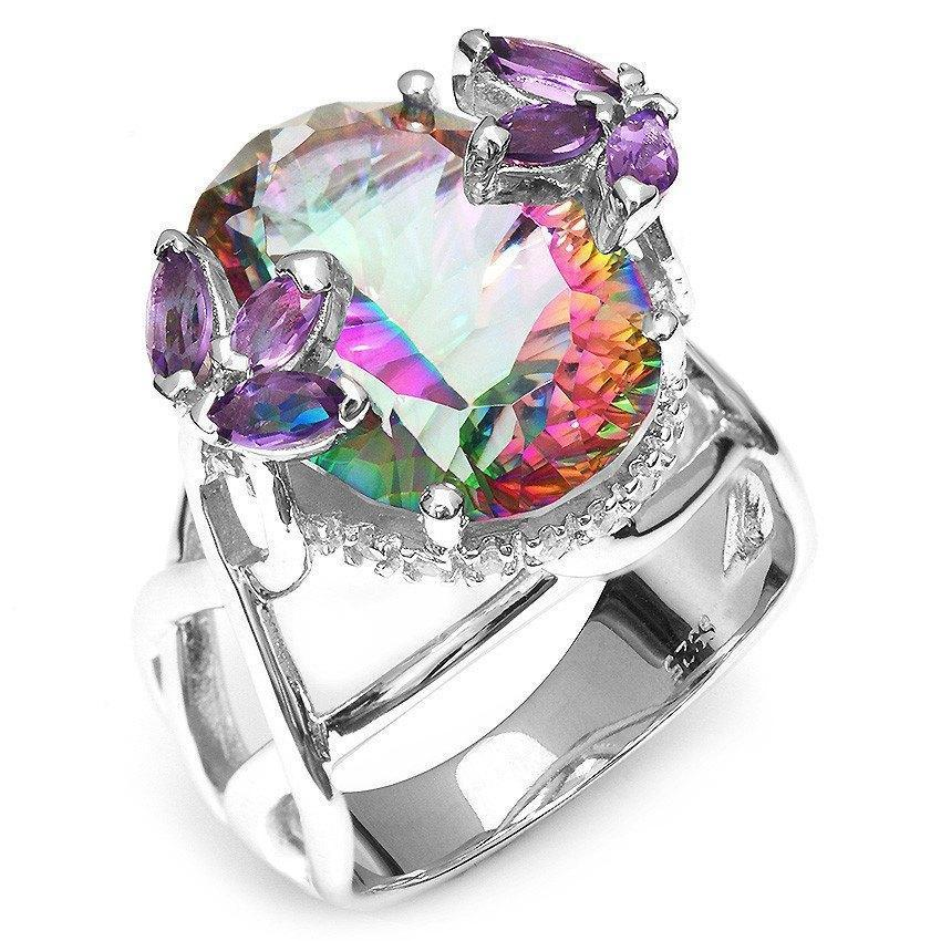 Rainbow Fire Mystic Topaz With Amethyst Silver Ring - AtPerrys Healing Crystals - 1