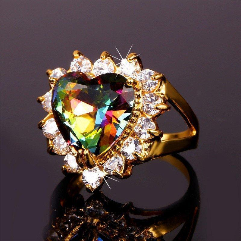 Gold Plated Mystic Topaz Crystal Heart Ring - atperry's healing crystals