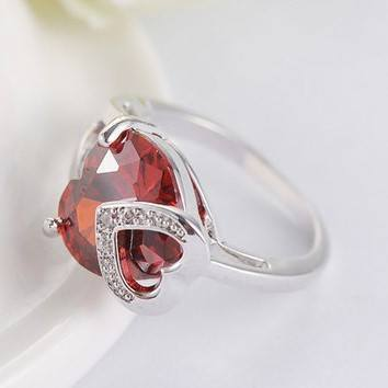 Heart Shaped Ruby Silver RingRing6Platinum Plated
