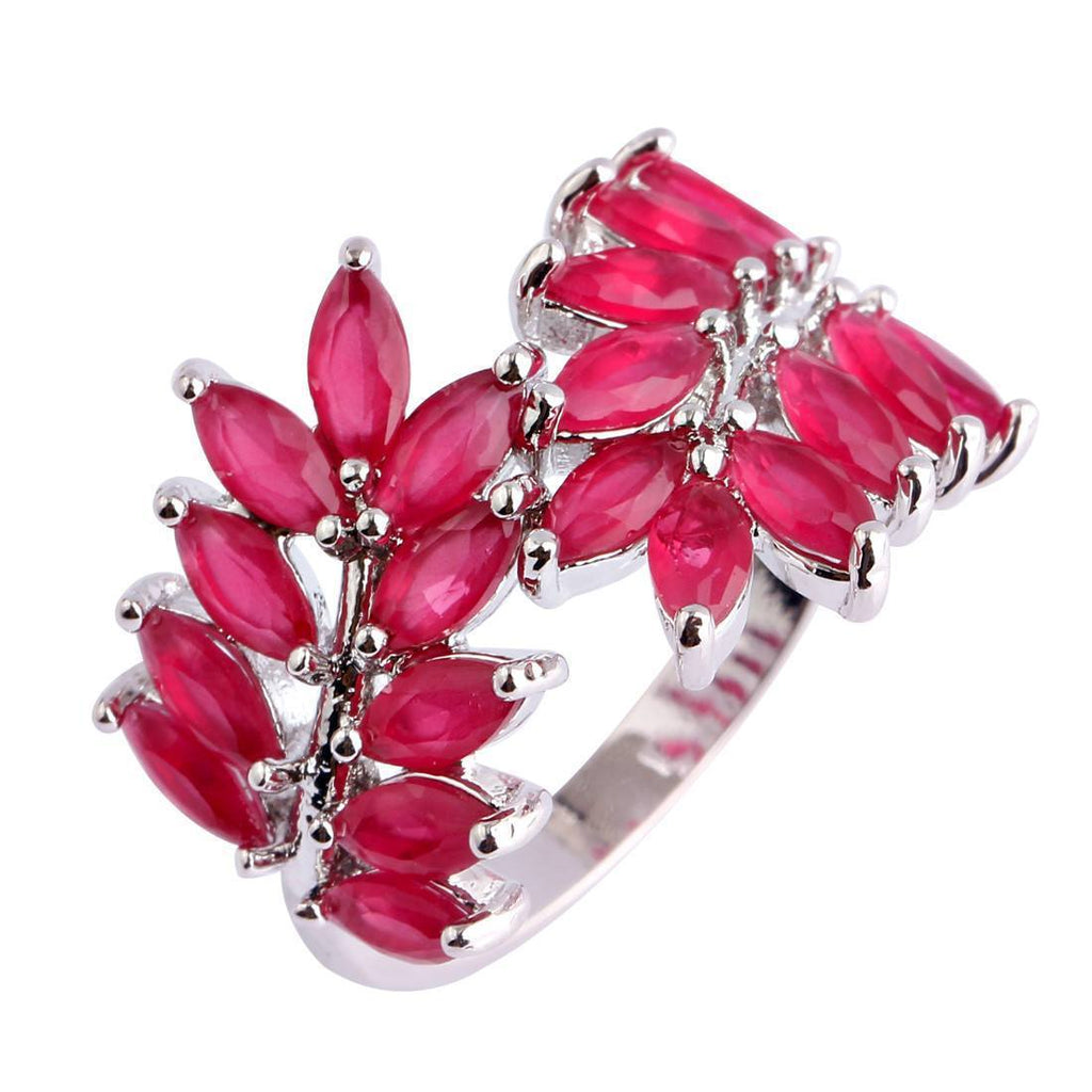 Leaf Shaped Ruby Sterling Silver Ring   AtPerrys Healing Crystals   1