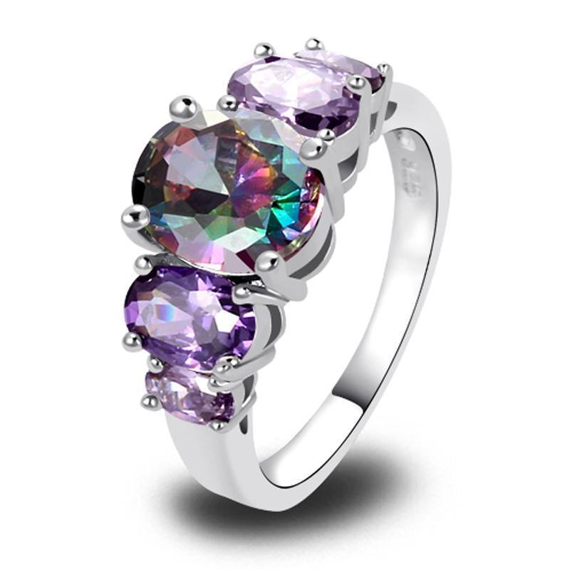 Mystic Topaz 5 Stones 925 Silver Ring - AtPerrys Healing Crystals - 1
