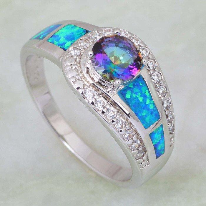 Mystic Topaz Opal Silver Ring (Silver Plated) - AtPerrys Healing Crystals - 1