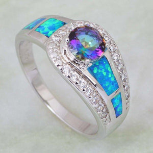 Mystic Topaz Opal Silver Ring (Silver Plated) - atperry's healing crystals