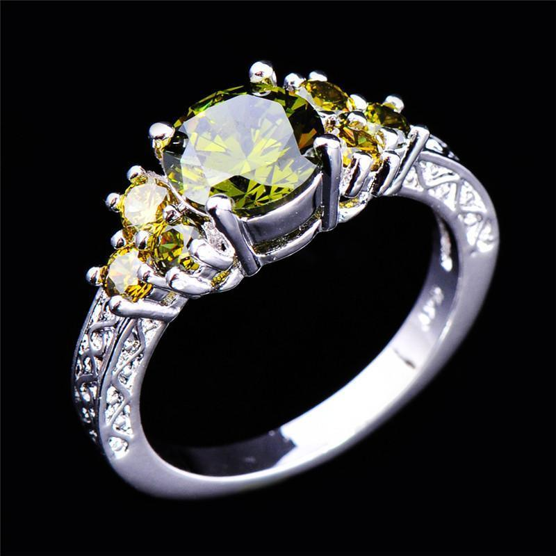 Peridot White Gold Filled Olive Green Ring - AtPerrys Healing Crystals - 1