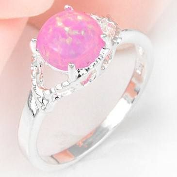 Pink Fire Australian Opal Silver Ring Size 7 8 9   AtPerrys Healing Crystals   1