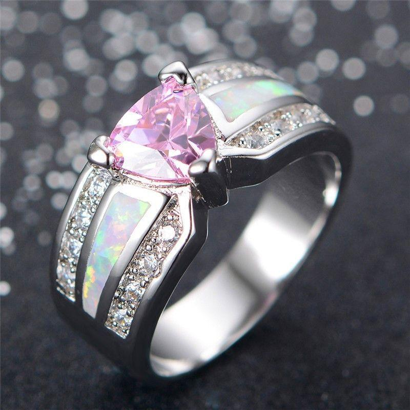 Pink Sapphire Heart White Opal Ring - AtPerrys Healing Crystals - 1