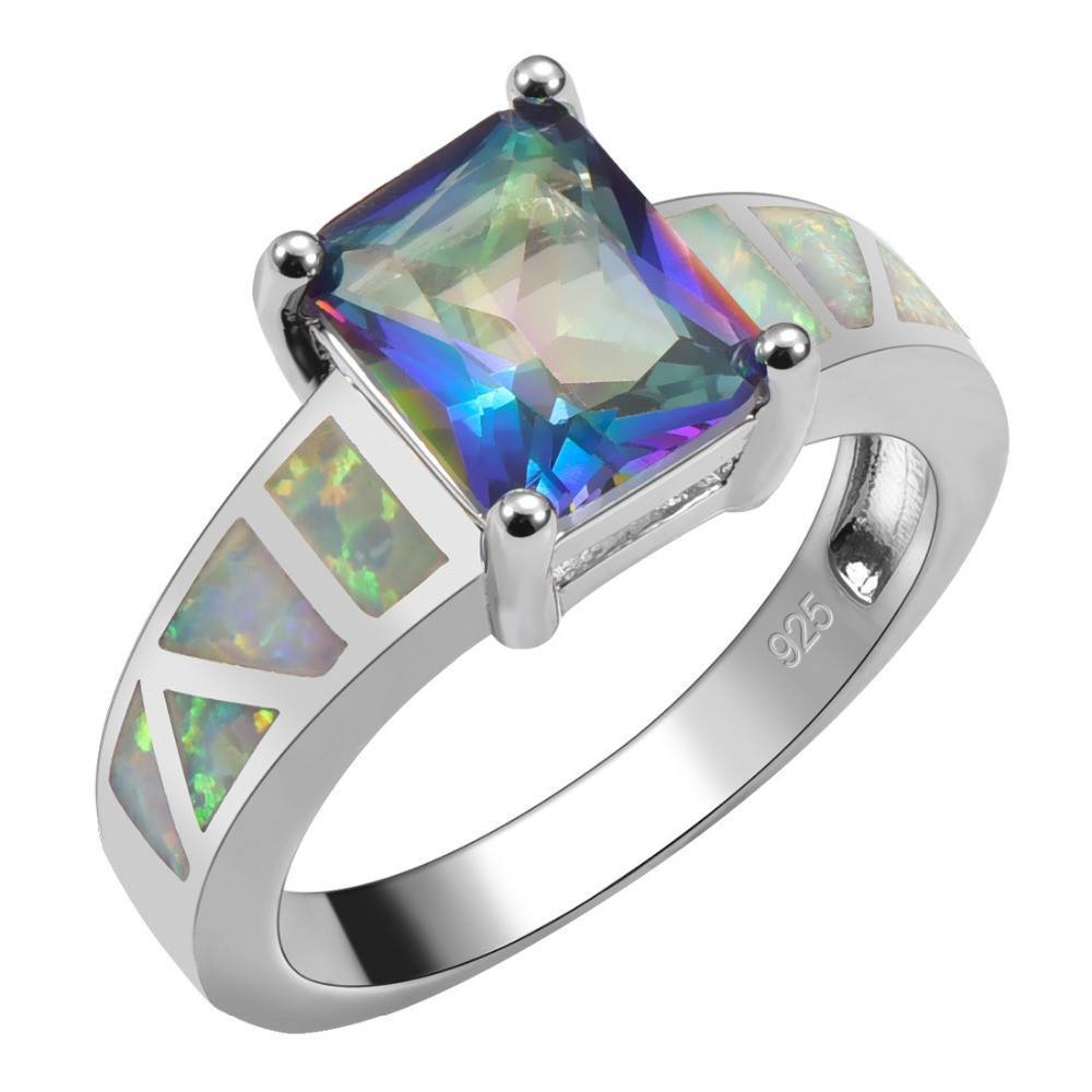 Rainbow Topaz With White Fire Opal Sterling Silver Square Ring - AtPerrys Healing Crystals - 1