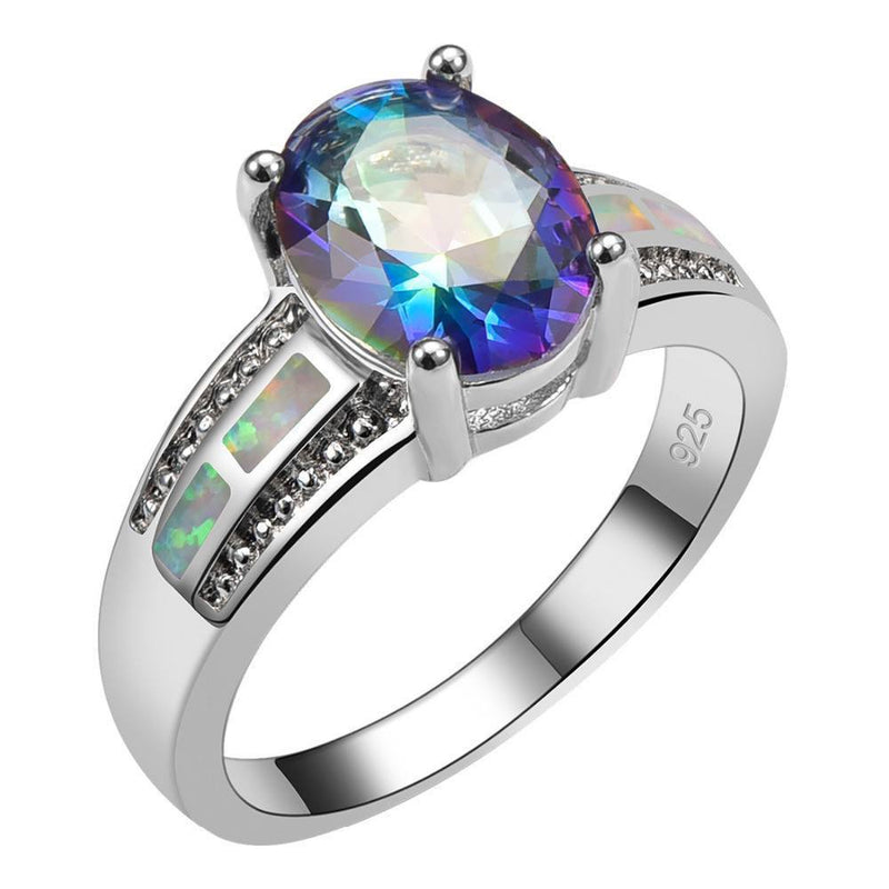 Rainbow Topaz With White Fire Opal Sterling Silver Ring - atperry's healing crystals