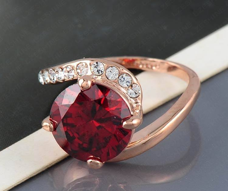 Ruby Gold Plated Austrian Crystal Ring   AtPerrys Healing Crystals   1