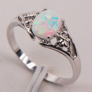 White Fire Australian Opal Silver Ring - atperry's healing crystals