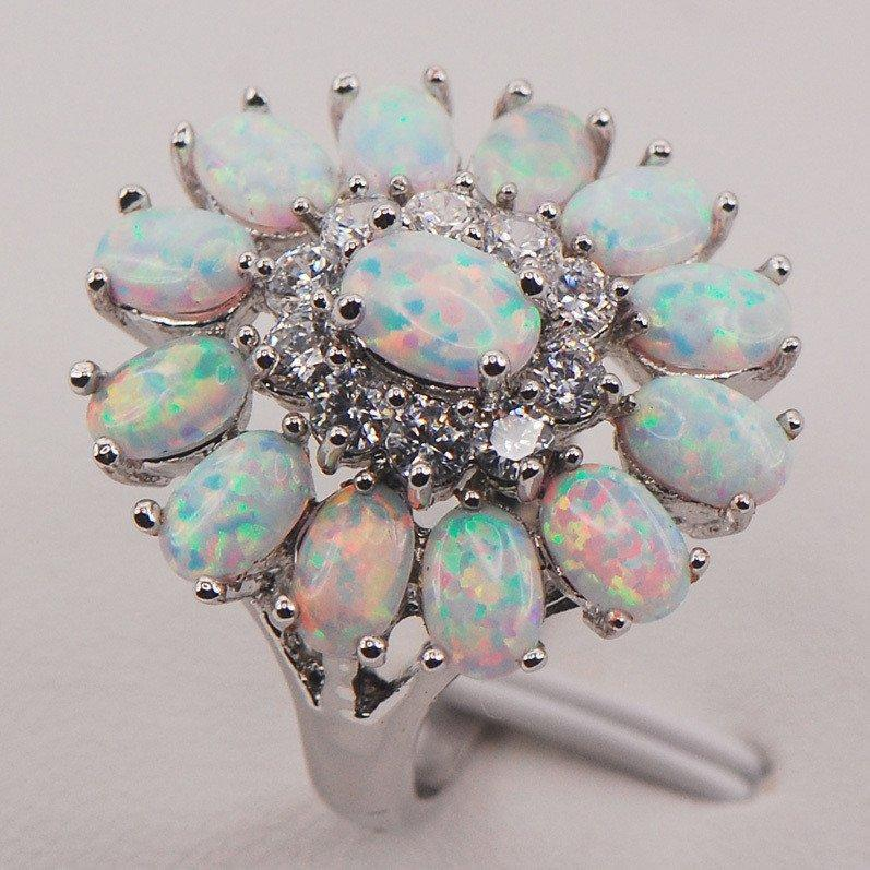 White Fire Opal Flower Sterling Silver Ring - AtPerrys Healing Crystals - 1