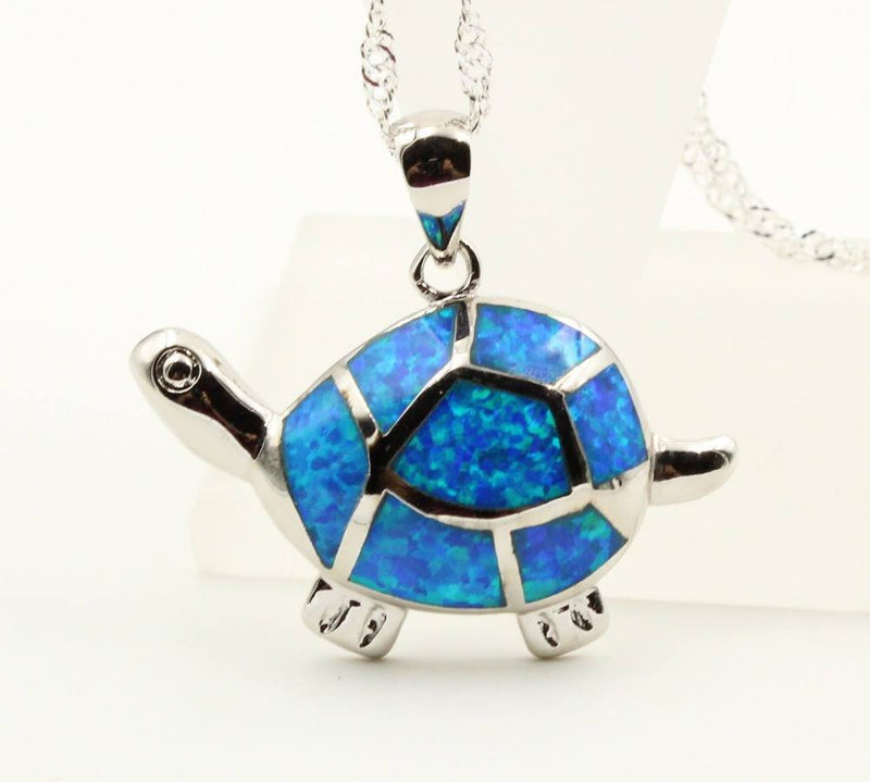 Sea Turtle Blue Fire Opal Pendant Necklace   AtPerrys Healing Crystals   1