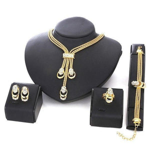 18K Gold Plated Beads Collar Necklace, Earrings, Bracelet & Fine Rings SetJewelry SetGold