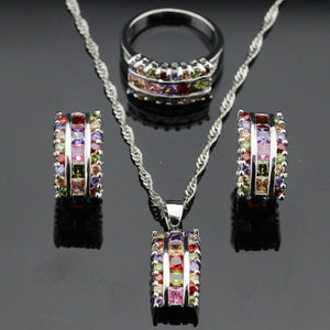 Multi Color Gemstone Sterling Silver Set   AtPerrys Healing Crystals   1