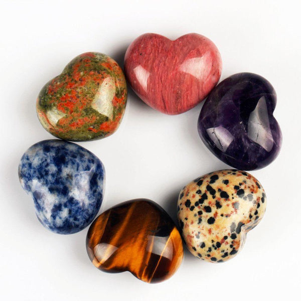 Set of 13 Heart Shape Natural Healing Stones