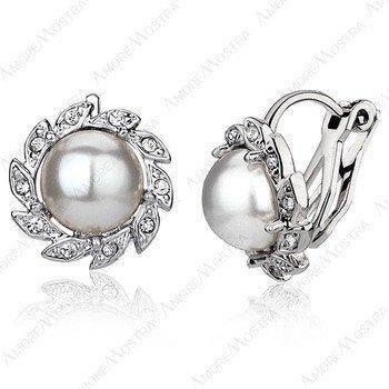 Sunflower Pearl Clip Earring 18K Platinum Plated Austria Eleme Crystal