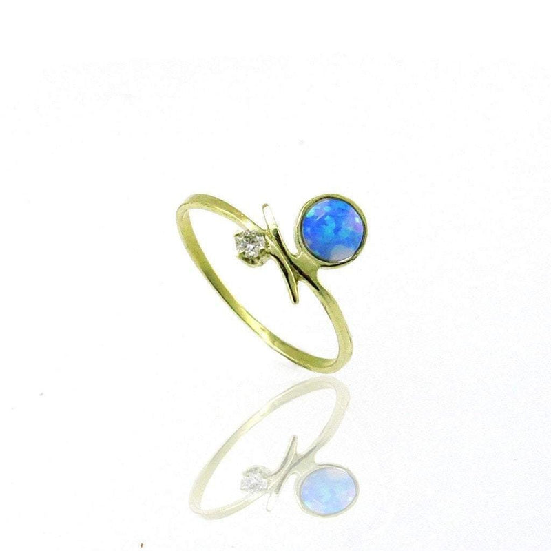 Blue Opal and Diamond Ring in 14k Solid Gold - AtPerry's Healing Crystals™