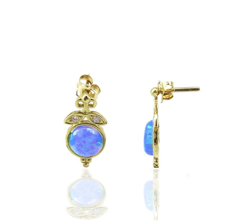 Blue Opal and Diamond Stud Earrings in 14K Solid Gold - atperry's healing crystals