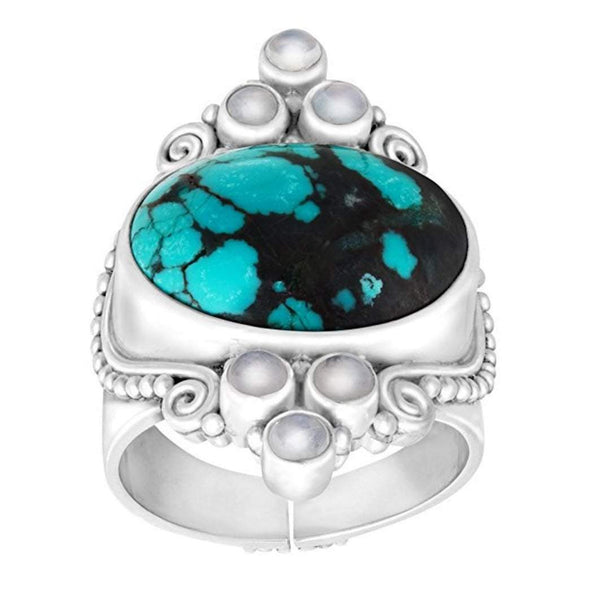 Natural Turquoise and Moonstone Scroll Ring in Sterling Silver