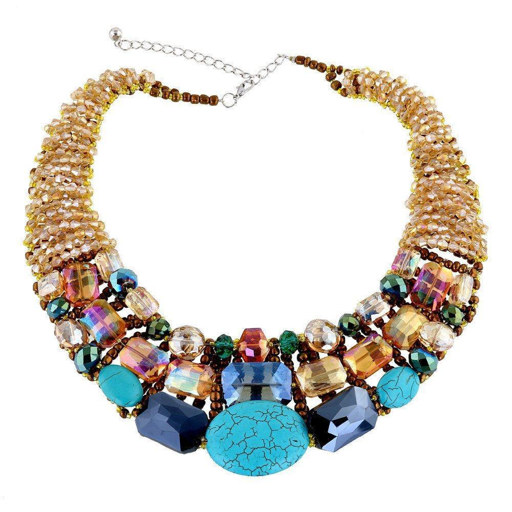 Turquoise and Crystal Bead Handcrafted Statement Choker Necklace - AtPerrys Healing Crystals - 1