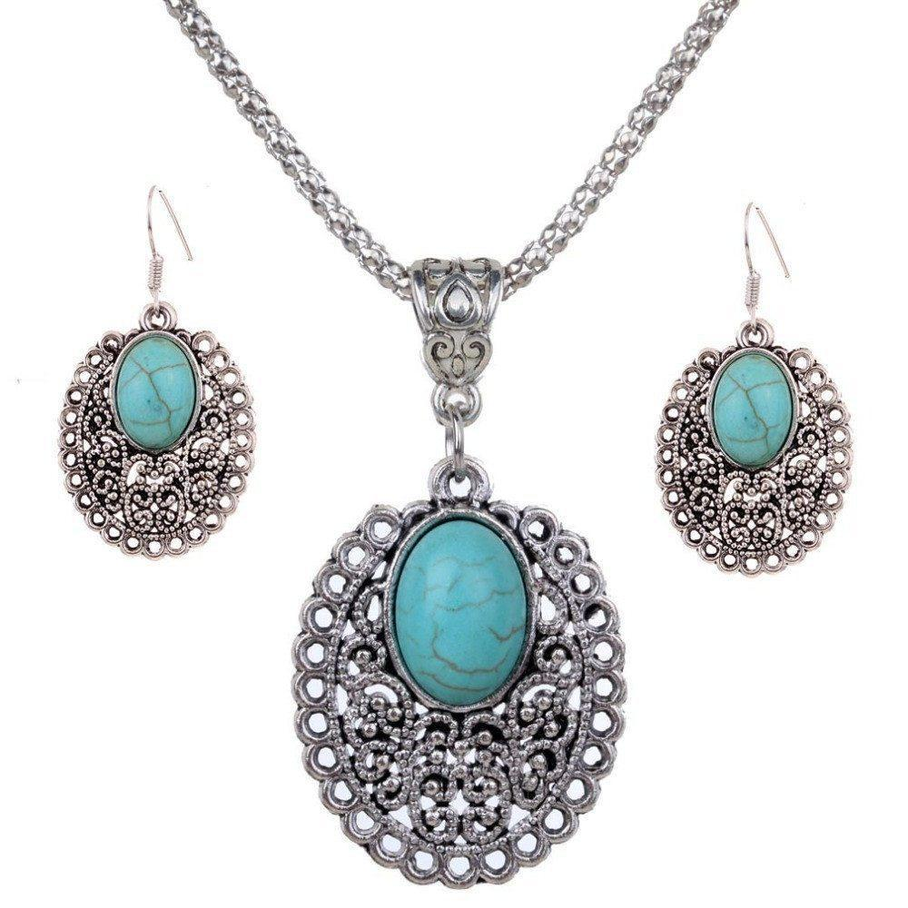 Turquoise Crystal Inlay Flower Pendant Necklace   Dangle Earrings Jewelry Set   AtPerrys Healing Crystals   1