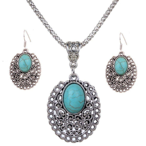 Turquoise Crystal Inlay Flower Pendant Necklace & Dangle Earrings Jewelry Set