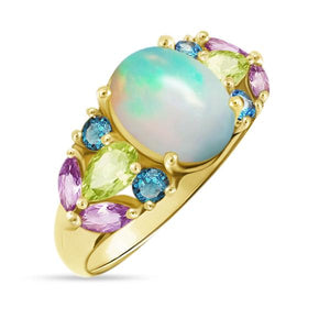 Natural Colorful Ethiopian Opal Ring - 925 Sterling Silver - atperry's healing crystals