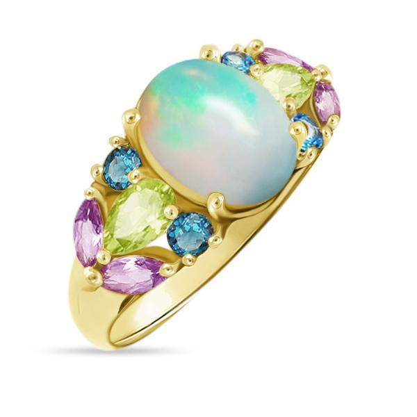 Natural Colorful Ethiopian Opal Ring - 925 Sterling Silver